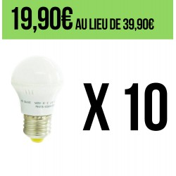 Lot de 10 Ampoules LED E27 3W Blanc Chaud