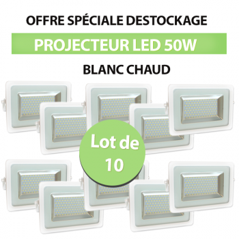 Lot de 10 Projecteurs Led 50W Ultra-fin SMD I-DESIGN 2 Blanc Chaud - IP65