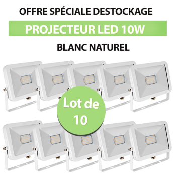 Lot de 10 Projecteurs Led 10W Ultra-fin SMD I-DESIGN Blanc Naturel - IP65