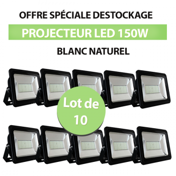 Lot de 10 Projecteurs Led 150W Ultra-fin SMD Blanc Naturel - IP66