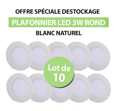 Lot de 10 Plafonniers LED Rond Extra-plat 3W Blanc Naturel