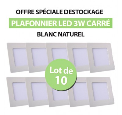 Lot de 10 Plafonnier LED Carré Extra-plat 3W Blanc Naturel