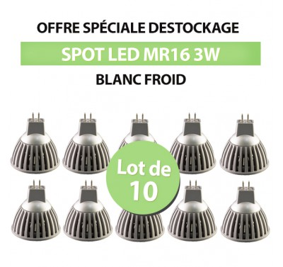 Lot de 10 Spots Led MR16 3W COB Blanc Froid