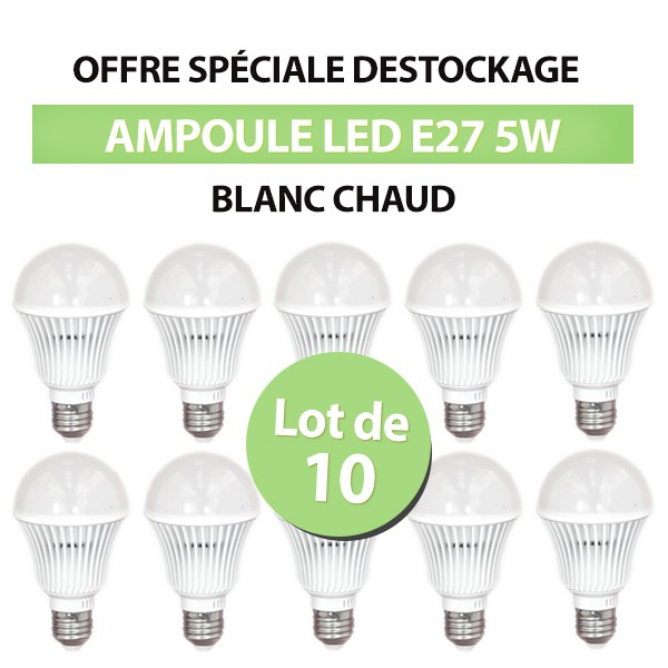 Lot de 10 Ampoules Standard LED E27 5W Blanc Chaud class=
