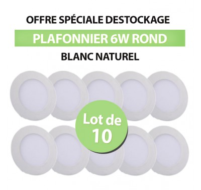 Lot de 10 Plafonniers LED Rond Extra-plat 6W Blanc Naturel