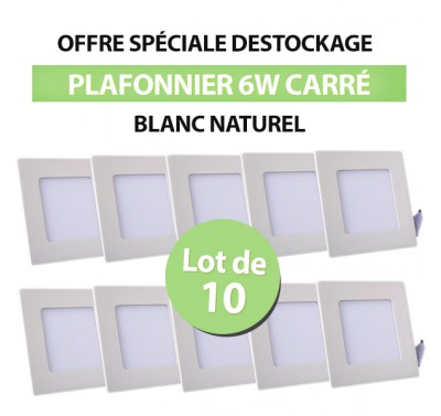 Lot de 10 Plafonniers LED Carré Extra-plat 6W Blanc Naturel