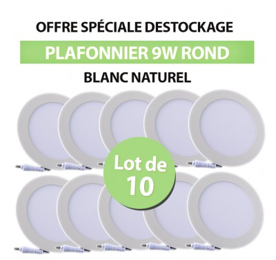 Lot de 10 Plafonniers LED Rond Extra-plat 9W Blanc Naturel