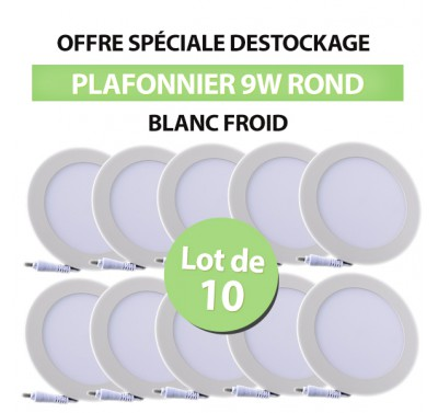 Lot de 10 Plafonniers LED Rond Extra-plat 9W Blanc Froid