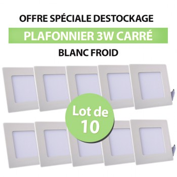 Lot de 10 Plafonniers LED Carré Extra-plat 3W Blanc Froid