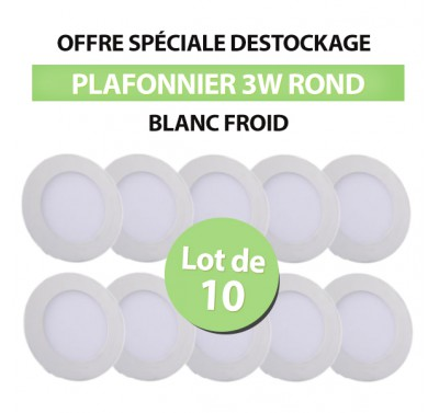 Lot de 10 Plafonniers LED Rond Extra-plat 3W Blanc Froid