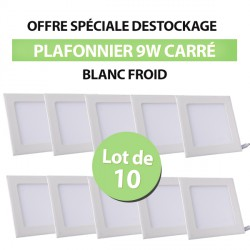 Lot de 10 Plafonniers LED Carré Extra-plat 9W Blanc Froid