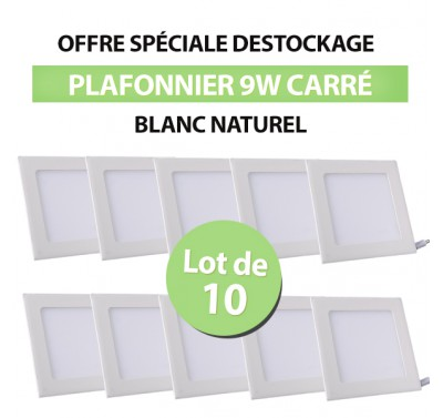 Lot de 10 Plafonniers LED Carré Extra-plat 9W Blanc Naturel