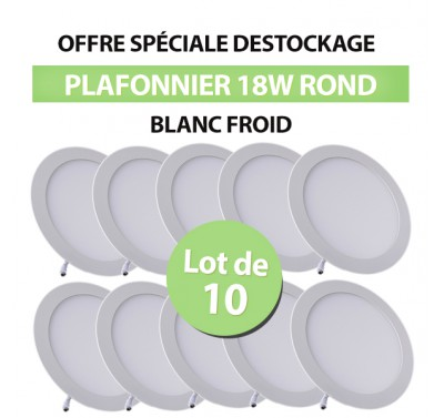 Lot de 10 Plafonniers LED Rond Extra-plat 18W Blanc Froid