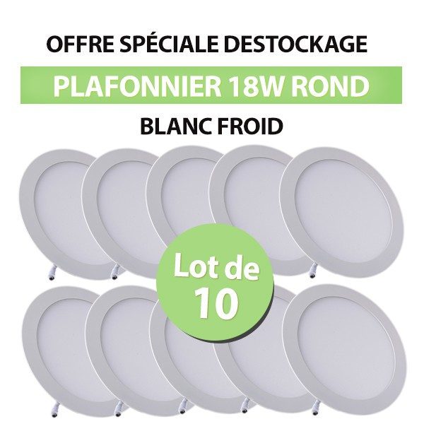Lot de 10 Plafonniers LED Rond Extra-plat 18W Blanc Froid class=