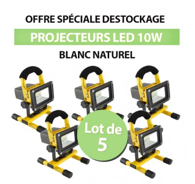 Lot de 5 Projecteurs LED 10W chantier Portable Blanc Naturel