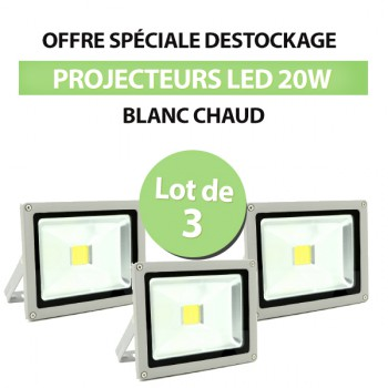 Lot de 3 Projecteurs Led 20W Blanc Chaud - IP65