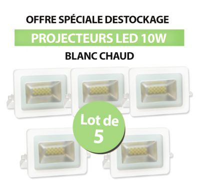 Lot de 5 Projecteurs Led 10W Ultra-fin SMD I-DESIGN 2 Blanc Chaud - IP65
