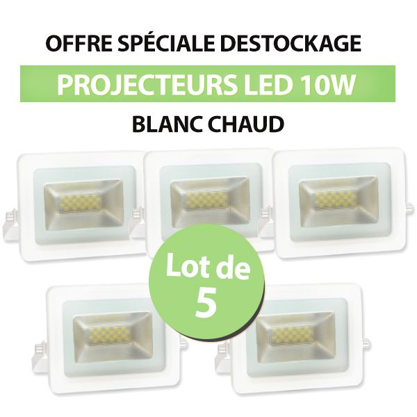 Lot de 5 Projecteurs Led 10W Ultra-fin SMD I-DESIGN 2 Blanc Chaud - IP65 class=