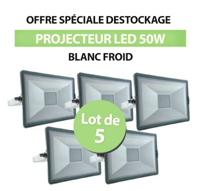 Lot de 5 Projecteurs Led 50W SMD High Line Blanc Froid