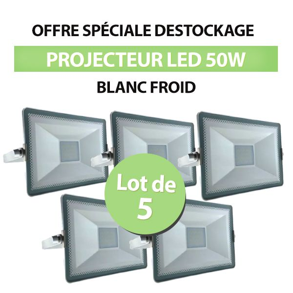 Lot de 5 Projecteurs Led 50W SMD High Line Blanc Froid class=
