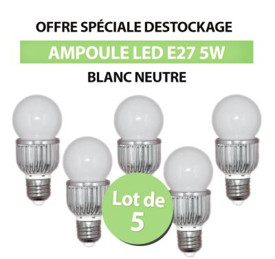 Lot de 5 Ampoules Intérieur Bulbe LED E27 5W Blanc Naturel