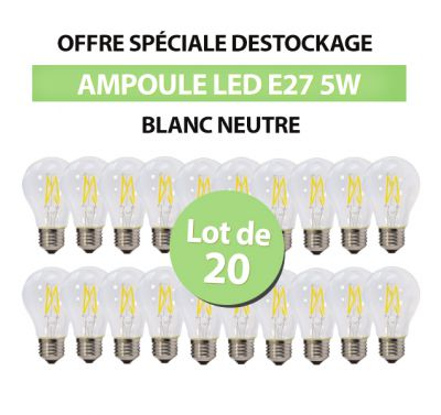 Lot de 20 Ampoules Led Bulb à Filament A60 E27 5w Blanc Naturel