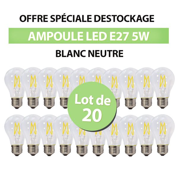 Lot de 20 Ampoules Led Bulb à Filament A60 E27 5w Blanc Naturel class=