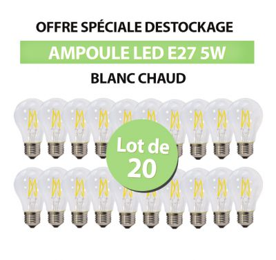 Lot de 20 Ampoules Led Bulb à Filament A60 E27 5w Blanc Chaud