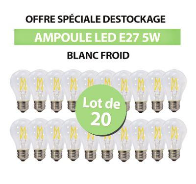Lot de 20 Ampoules Led Bulb à Filament A60 E27 5w Blanc Froid