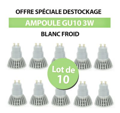 Lot de 10 Spots Led GU10 3W Blanc Froid