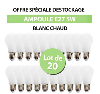 Lot de 20 Ampoules Led Bulb E27 5W Blanc Chaud