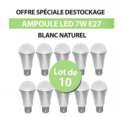 Lot de 10 Ampoules Intérieur Bulbe LED E27 7W Blanc Naturel