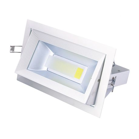 Spot int rieur led 30w rectangulaire orientable blanc for Spot orientable interieur