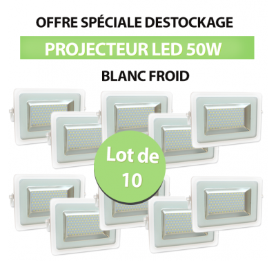 Lot de 10 Projecteurs Led 50W Ultra-fin SMD I-DESIGN 2 Blanc Froid - IP65