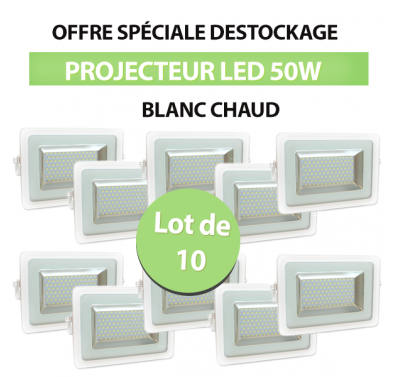 Lot de 10 Projecteurs Led 50W Ultra-fin I-DESIGN 2 Blanc Chaud IP65
