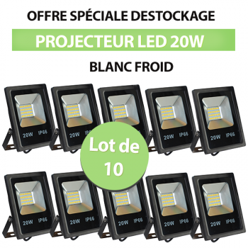 Lot de 10 Projecteurs Led 20W Ultra-fin SMD Blanc Froid - IP66