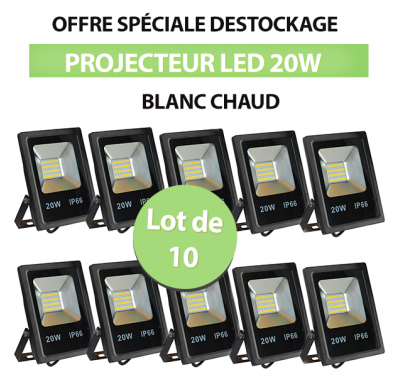 Lot de 10 Projecteurs Led 20W Ultra-fin SMD Blanc Chaud - IP65