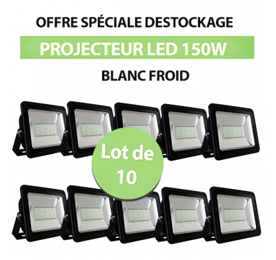 Lot de 10 Projecteurs Led 150W Ultra-fin SMD Blanc Froid - IP66