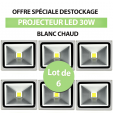 Lot de 6 Projecteurs Led 30W En Aluminium Blanc Chaud - IP65