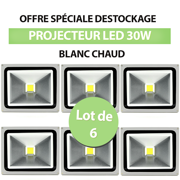 Lot de 6 Projecteurs Led 30W En Aluminium Blanc Chaud - IP65 class=