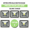 Lot de 5 Projecteurs Led 30W En Aluminium Blanc Chaud - IP65