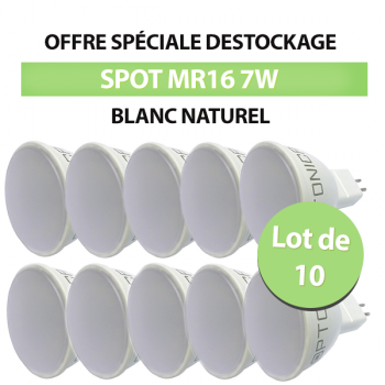 Lot de 10 Spots Led MR16 7W 110° SMD Blanc Naturel