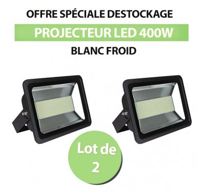 Lot de 2 Projecteurs Led 400W Ultra-fin SMD Blanc Froid - IP66
