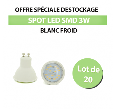 Lot de 20 Spots Led SMD 3W Blanc Froid