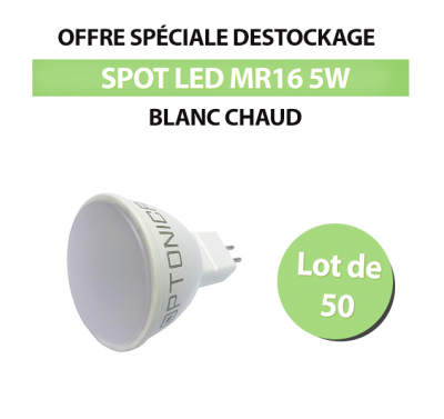 Lot de 50 Spots Led MR16 5W 110° SMD Blanc Chaud