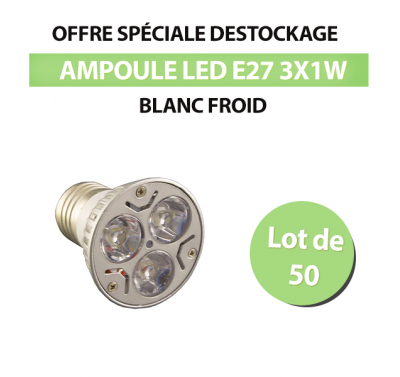 Lot de 50 Ampoules Led E27 3x1W Blanc Froid