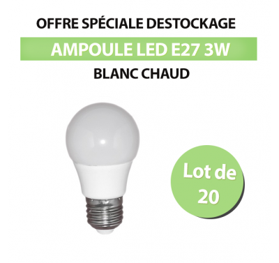 Lot de 20 Ampoules Standard LED E27 3w Blanc Chaud