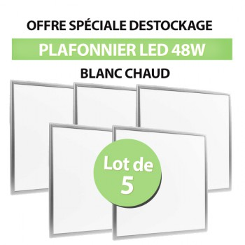 Lot de 5 Dalles LED Carré 60x60 48W Blanc Chaud