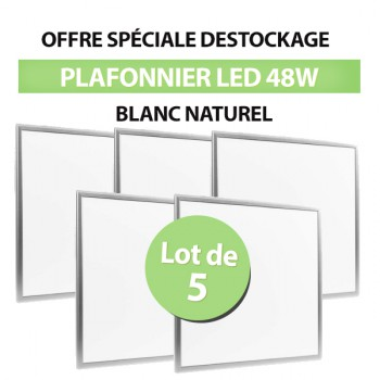 Lot de 5 Dalles LED Carré 60x60 48W Blanc Naturel