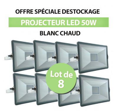 Lot de 8 Projecteurs Led 50W SMD High Line Blanc Chaud
